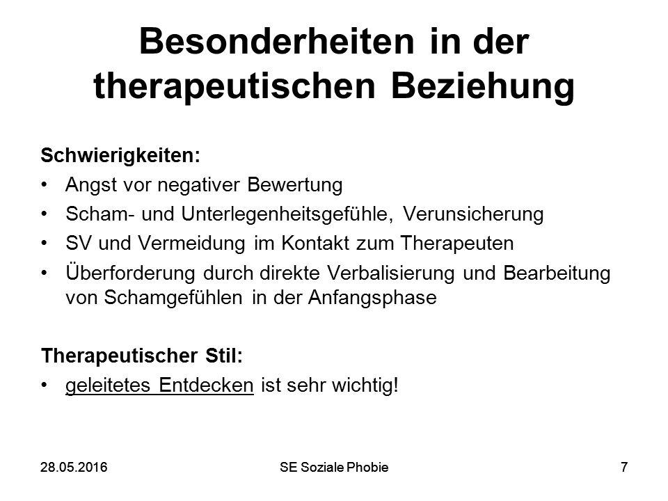 28.05.2016SE Soziale Phobie728.05.2016SE Soziale Phobie7 Besonderheiten in der therapeutischen Beziehung Schwierigkeiten: Angst vor negativer Bewertun