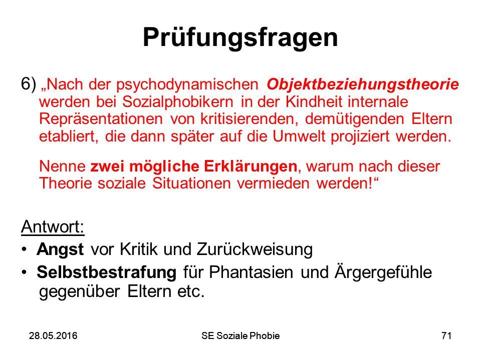 """28.05.2016SE Soziale Phobie7128.05.2016SE Soziale Phobie71 Prüfungsfragen 6) """"Nach der psychodynamischen Objektbeziehungstheorie werden bei Sozialphob"""