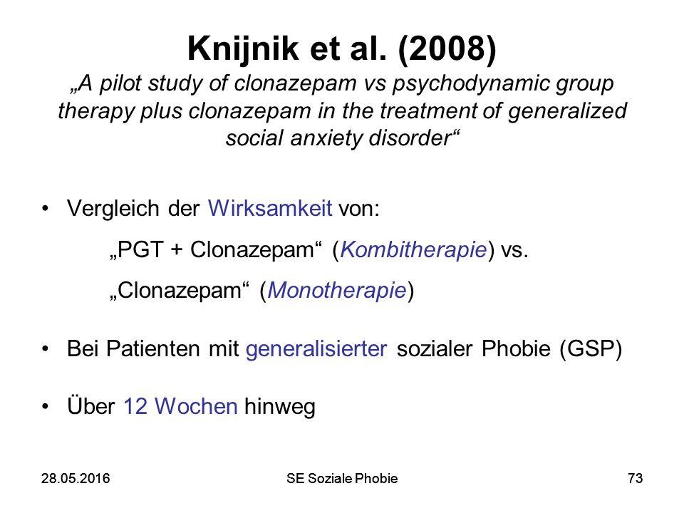 "28.05.2016SE Soziale Phobie7328.05.2016SE Soziale Phobie73 Knijnik et al. (2008) ""A pilot study of clonazepam vs psychodynamic group therapy plus clon"