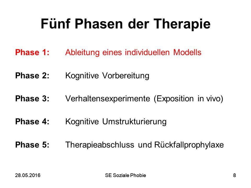 28.05.2016SE Soziale Phobie828.05.2016SE Soziale Phobie8 Fünf Phasen der Therapie Phase 1: Ableitung eines individuellen Modells Phase 2: Kognitive Vo