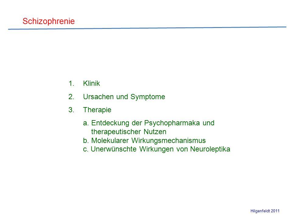 Schizophrenie Hilgenfeldt 2011 Wahrnehmungsstörungen, Sinnestäuschung Trugwahrnehmung psychomotorische Erregungszustände  1.