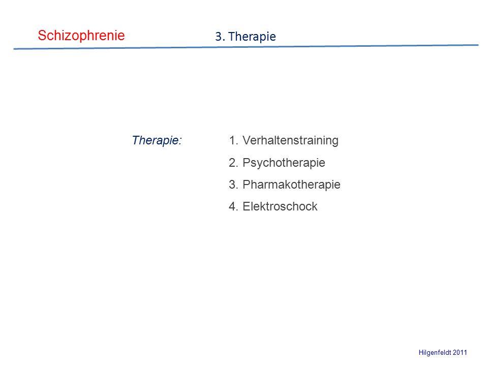 Schizophrenie Hilgenfeldt 2011 Therapie:1. Verhaltenstraining 2.