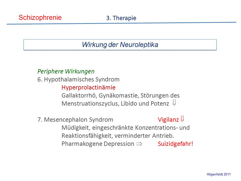 Schizophrenie Hilgenfeldt 2011 3. Therapie Wirkung der Neuroleptika Periphere Wirkungen 6.