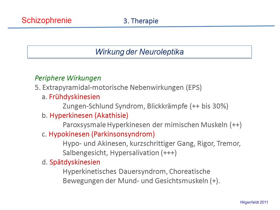 Schizophrenie Hilgenfeldt 2011 3. Therapie Periphere Wirkungen 5.