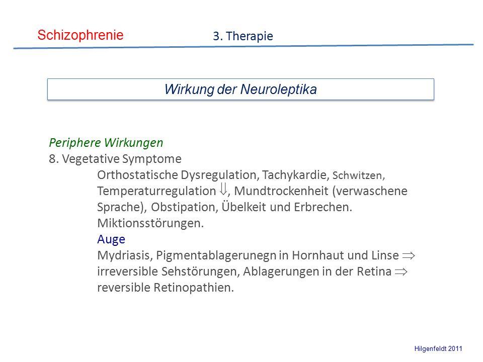 Schizophrenie Hilgenfeldt 2011 3. Therapie Wirkung der Neuroleptika Periphere Wirkungen 8.