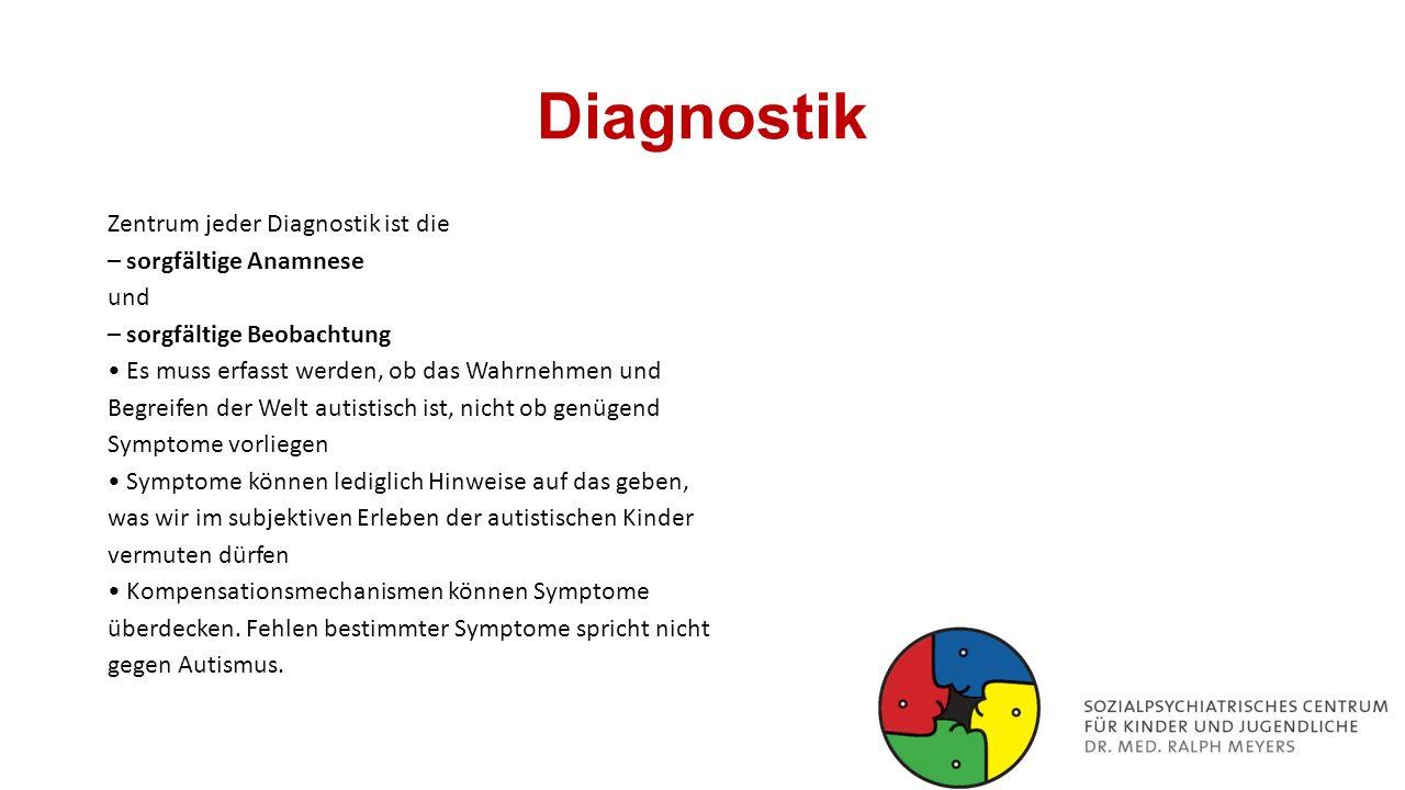 Diagnostik Zentrum jeder Diagnostik ist die – sorgfältige Anamnese und – sorgfältige Beobachtung Es muss erfasst werden, ob das Wahrnehmen und Begreif