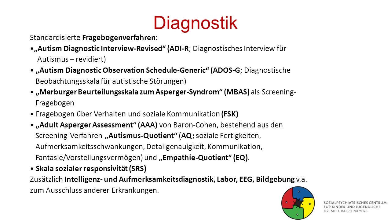 "Diagnostik Standardisierte Fragebogenverfahren: ""Autism Diagnostic Interview-Revised"" (ADI-R; Diagnostisches Interview für Autismus – revidiert) ""Auti"