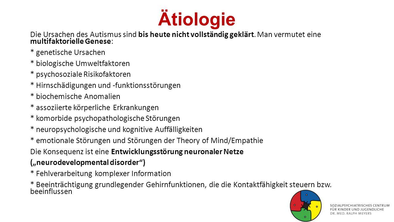 Ätiologie Die Ursachen des Autismus sind bis heute nicht vollständig geklärt. Man vermutet eine multifaktorielle Genese: * genetische Ursachen * biolo