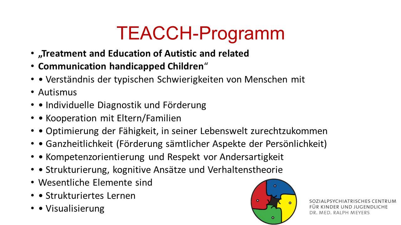 """TEACCH-Programm """"Treatment and Education of Autistic and related Communication handicapped Children"""" Verständnis der typischen Schwierigkeiten von Men"""