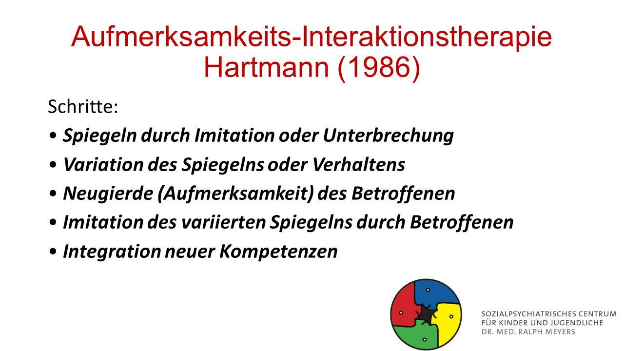 Aufmerksamkeits-Interaktionstherapie Hartmann (1986) Schritte: Spiegeln durch Imitation oder Unterbrechung Variation des Spiegelns oder Verhaltens Neu