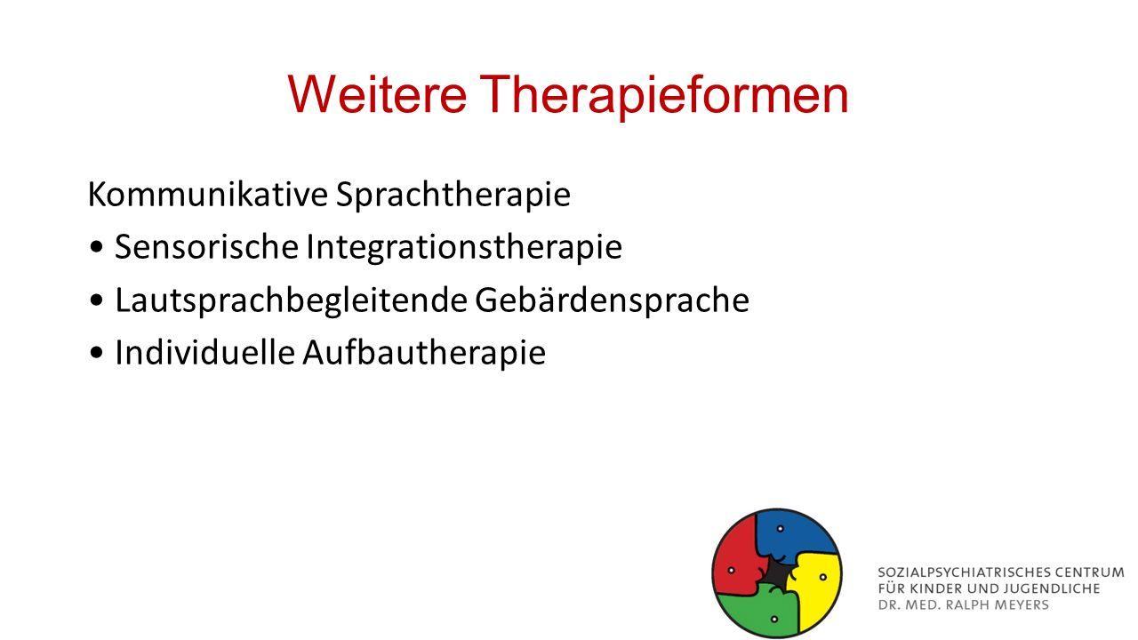 Weitere Therapieformen Kommunikative Sprachtherapie Sensorische Integrationstherapie Lautsprachbegleitende Gebärdensprache Individuelle Aufbautherapie