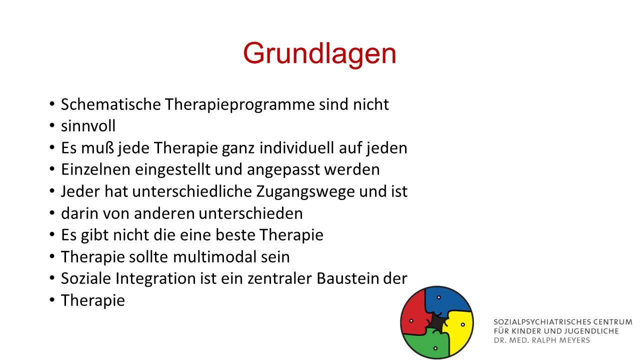Grundlagen Schematische Therapieprogramme sind nicht sinnvoll Es muß jede Therapie ganz individuell auf jeden Einzelnen eingestellt und angepasst werd
