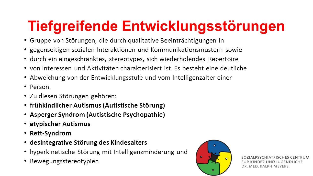"""Diagnostik Standardisierte Fragebogenverfahren: """"Autism Diagnostic Interview-Revised (ADI-R; Diagnostisches Interview für Autismus – revidiert) """"Autism Diagnostic Observation Schedule-Generic (ADOS-G; Diagnostische Beobachtungsskala für autistische Störungen) """"Marburger Beurteilungsskala zum Asperger-Syndrom (MBAS) als Screening- Fragebogen Fragebogen über Verhalten und soziale Kommunikation (FSK) """"Adult Asperger Assessment (AAA) von Baron-Cohen, bestehend aus den Screening-Verfahren """"Autismus-Quotient (AQ; soziale Fertigkeiten, Aufmerksamkeitsschwankungen, Detailgenauigkeit, Kommunikation, Fantasie/Vorstellungsvermögen) und """"Empathie-Quotient (EQ)."""
