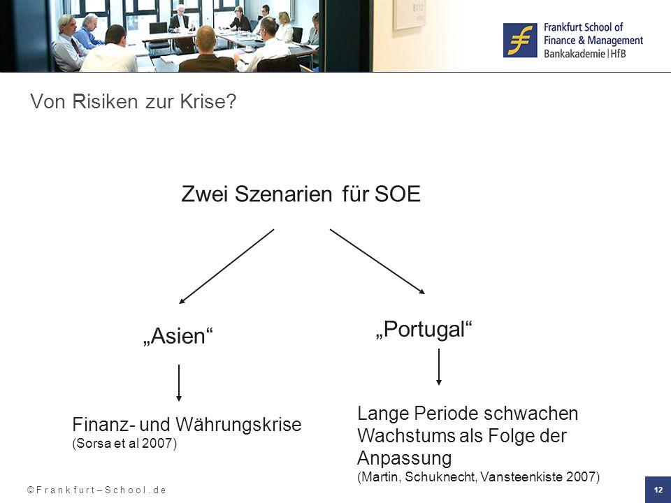 """© F r a n k f u r t – S c h o o l. d e 12 Zwei Szenarien für SOE Von Risiken zur Krise? """"Asien"""" """"Portugal"""" Finanz- und Währungskrise (Sorsa et al 2007"""