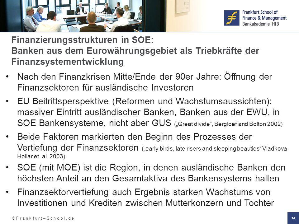 © F r a n k f u r t – S c h o o l. d e 14 Finanzierungsstrukturen in SOE: Banken aus dem Eurowährungsgebiet als Triebkräfte der Finanzsystementwicklun