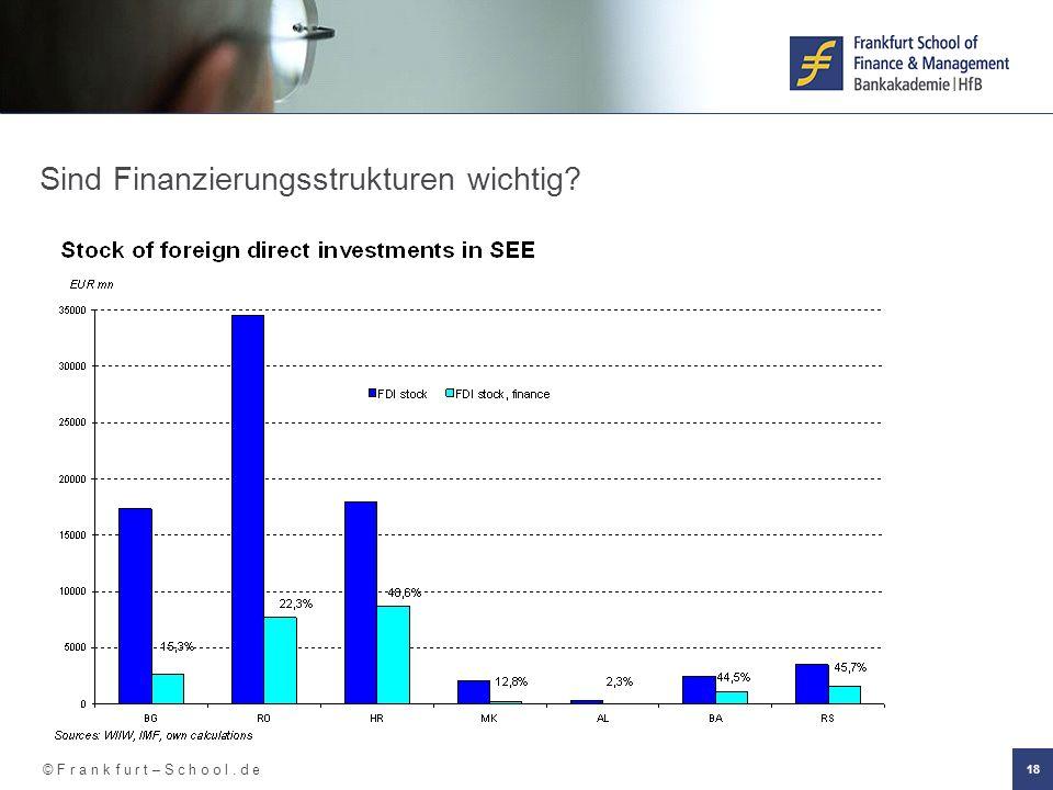 © F r a n k f u r t – S c h o o l. d e 18 Sind Finanzierungsstrukturen wichtig?