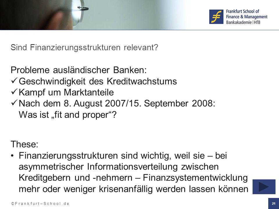© F r a n k f u r t – S c h o o l. d e 21 Sind Finanzierungsstrukturen relevant? Probleme ausländischer Banken: Geschwindigkeit des Kreditwachstums Ka