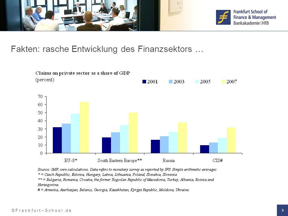 © F r a n k f u r t – S c h o o l. d e 3 Fakten: rasche Entwicklung des Finanzsektors …