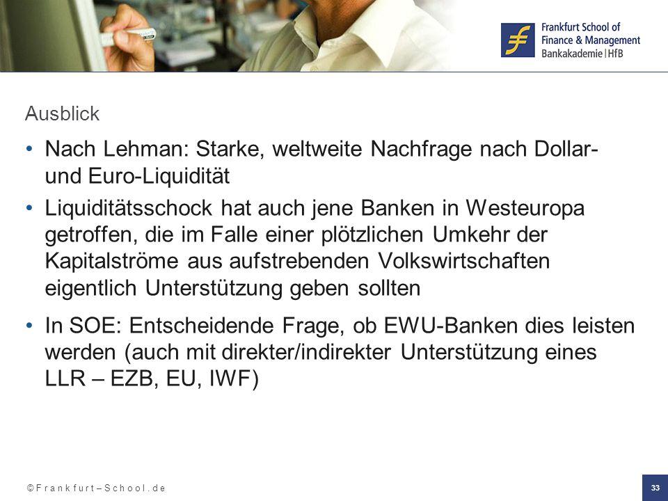 © F r a n k f u r t – S c h o o l. d e 33 Ausblick Nach Lehman: Starke, weltweite Nachfrage nach Dollar- und Euro-Liquidität Liquiditätsschock hat auc