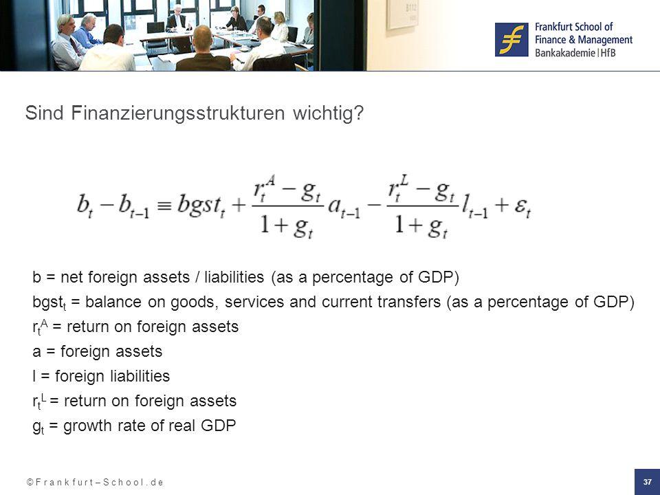 © F r a n k f u r t – S c h o o l. d e 37 Sind Finanzierungsstrukturen wichtig.