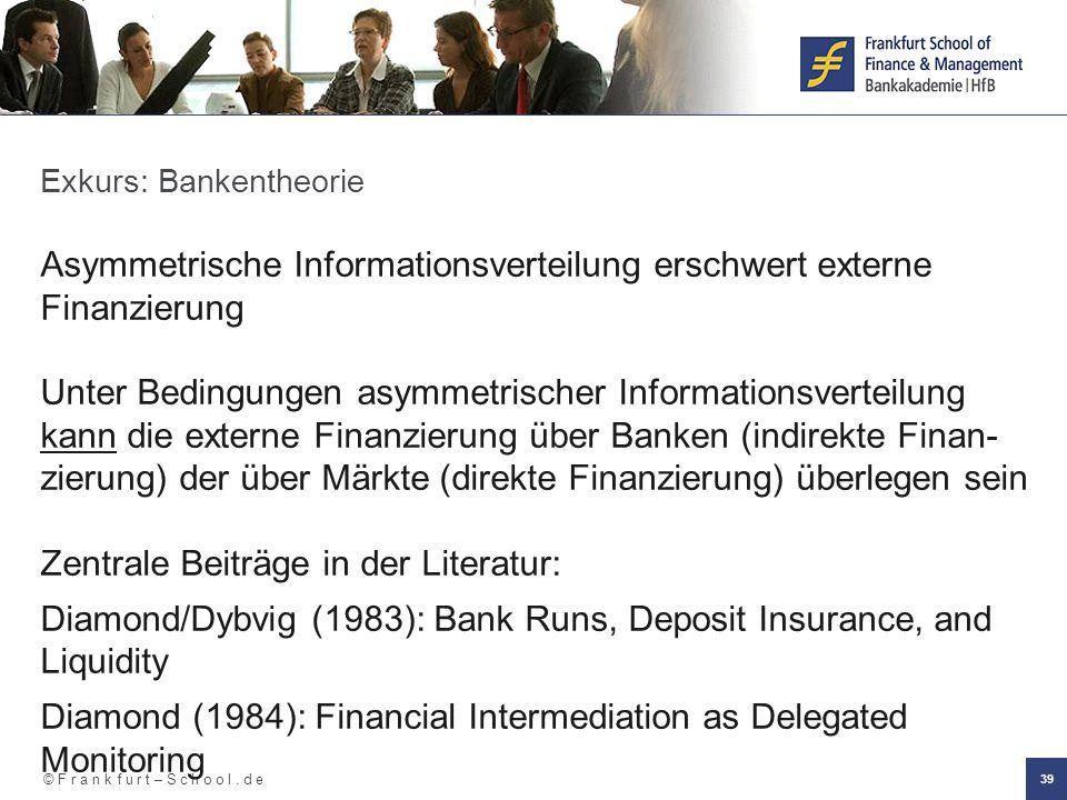 © F r a n k f u r t – S c h o o l. d e 39 Exkurs: Bankentheorie Asymmetrische Informationsverteilung erschwert externe Finanzierung Unter Bedingungen