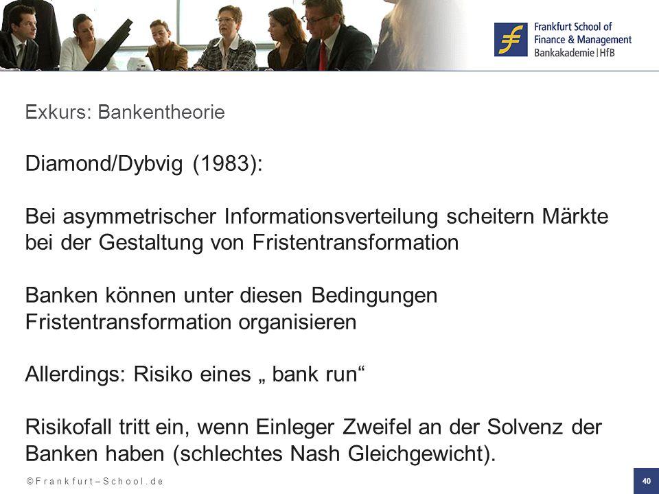 © F r a n k f u r t – S c h o o l. d e 40 Exkurs: Bankentheorie Diamond/Dybvig (1983): Bei asymmetrischer Informationsverteilung scheitern Märkte bei