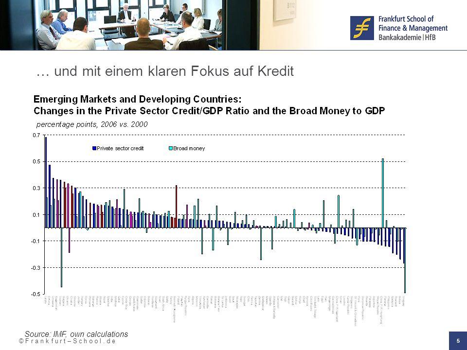 © F r a n k f u r t – S c h o o l. d e 5 … und mit einem klaren Fokus auf Kredit Source: IMF, own calculations
