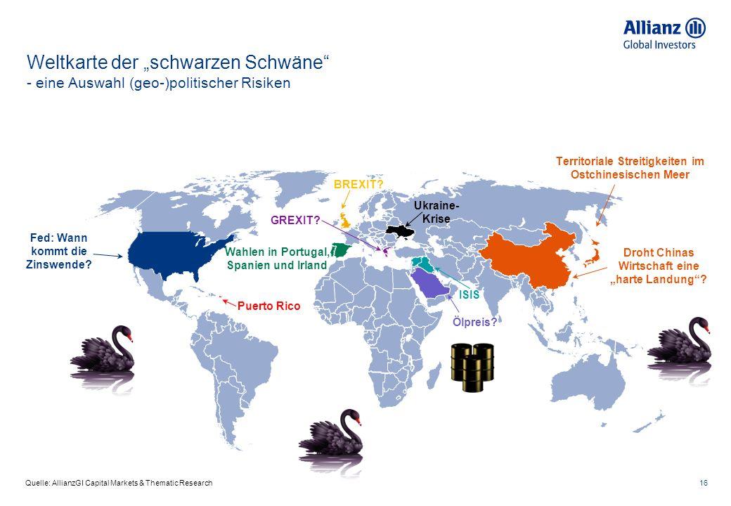 """16 Quelle: AllianzGI Capital Markets & Thematic Research Weltkarte der """"schwarzen Schwäne - eine Auswahl (geo-)politischer Risiken Territoriale Streitigkeiten im Ostchinesischen Meer Wahlen in Portugal, Spanien und Irland ISIS Ukraine- Krise Ölpreis."""