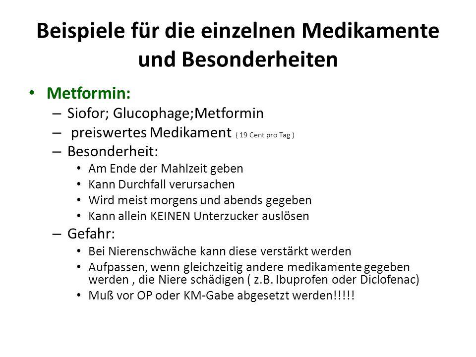 Beispiele für die einzelnen Medikamente und Besonderheiten Sulfonylharnstoff – Euglucon – Glimepirid; Amaryl ( 14 Cent pro Tag ) – preiswertes Medikament – Besonderheiten: 10 – 20 min VOR dem Essen geben Euglcon wird meist morgens und abends gegeben Glimepirid/Amaryl wird nur 1 x tgl.