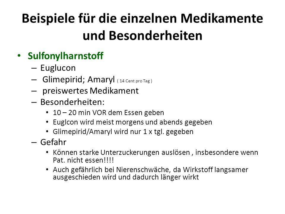 Beispiele für die einzelnen Medikamente und Besonderheiten Sulfonylharnstoff – Euglucon – Glimepirid; Amaryl ( 14 Cent pro Tag ) – preiswertes Medikam
