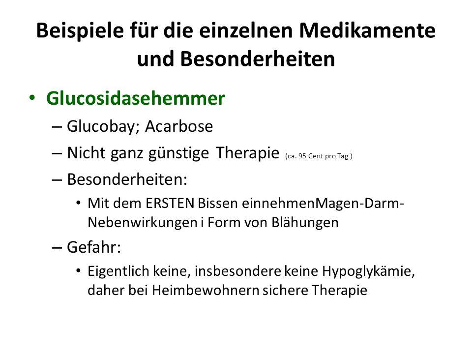 Beispiele für die einzelnen Medikamente und Besonderheiten Glucosidasehemmer – Glucobay; Acarbose – Nicht ganz günstige Therapie (ca. 95 Cent pro Tag