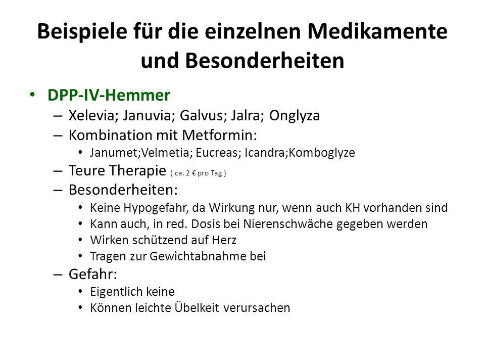 Beispiele für die einzelnen Medikamente und Besonderheiten DPP-IV-Hemmer – Xelevia; Januvia; Galvus; Jalra; Onglyza – Kombination mit Metformin: Janum