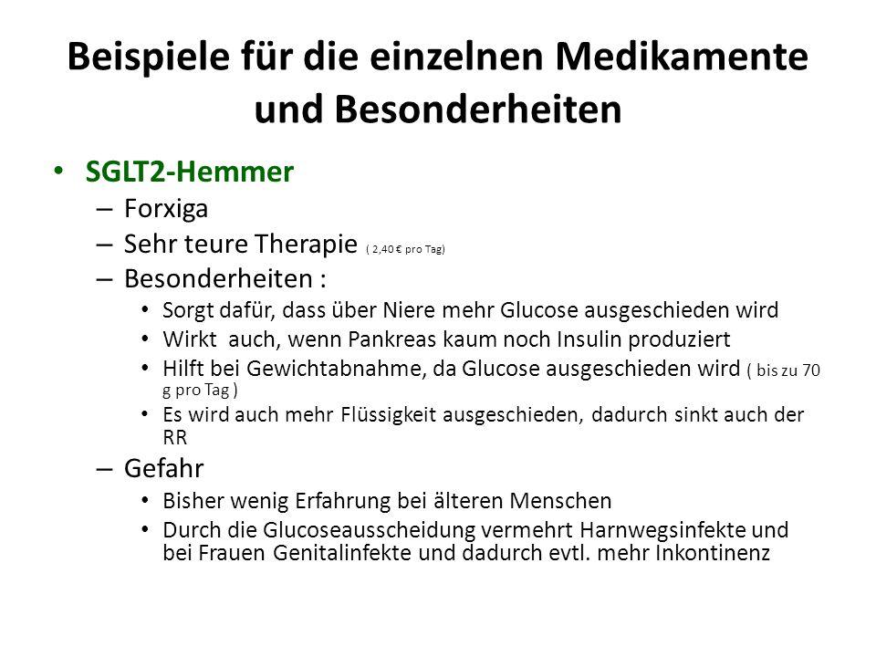 Beispiele für die einzelnen Medikamente und Besonderheiten SGLT2-Hemmer – Forxiga – Sehr teure Therapie ( 2,40 € pro Tag) – Besonderheiten : Sorgt daf