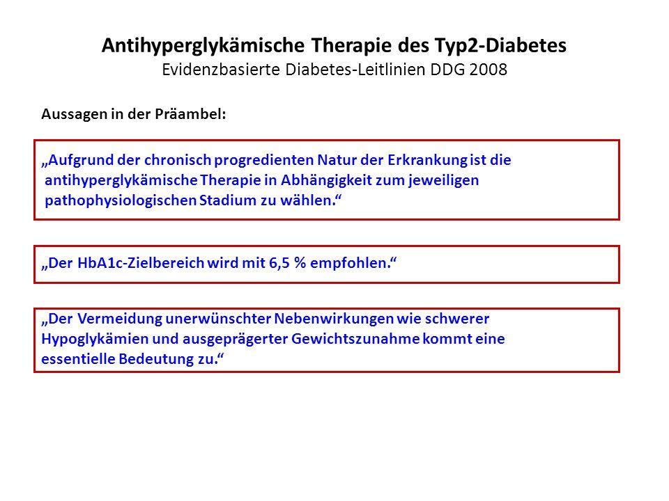"""Antihyperglykämische Therapie des Typ2-Diabetes Evidenzbasierte Diabetes-Leitlinien DDG 2008 Aussagen in der Präambel: """"Aufgrund der chronisch progred"""