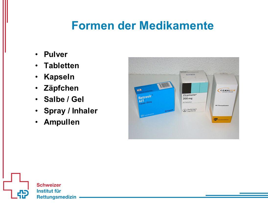 Formen der Medikamente Pulver Tabletten Kapseln Zäpfchen Salbe / Gel Spray / Inhaler Ampullen