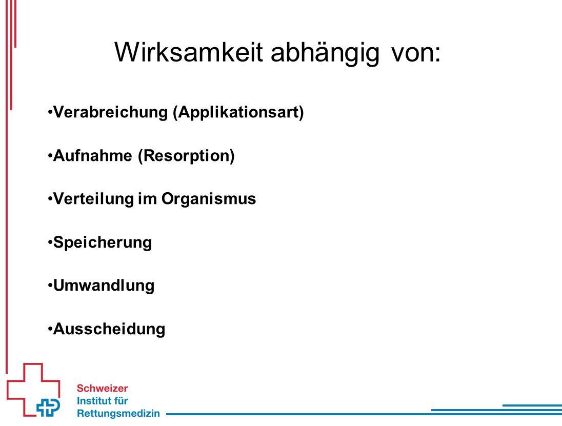 Wirksamkeit abhängig von: Verabreichung (Applikationsart) Aufnahme (Resorption) Verteilung im Organismus Speicherung Umwandlung Ausscheidung