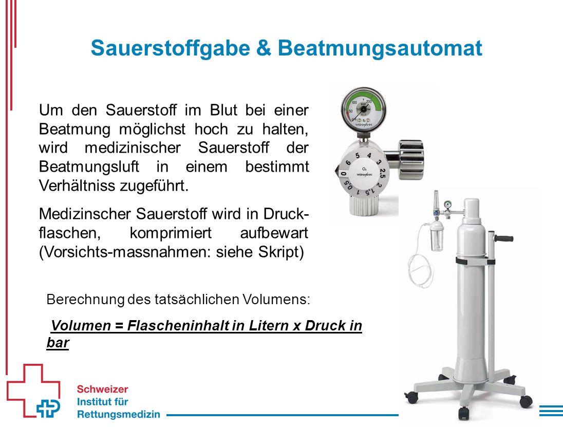 Sauerstoffgabe & Beatmungsautomat Um den Sauerstoff im Blut bei einer Beatmung möglichst hoch zu halten, wird medizinischer Sauerstoff der Beatmungsluft in einem bestimmt Verhältniss zugeführt.