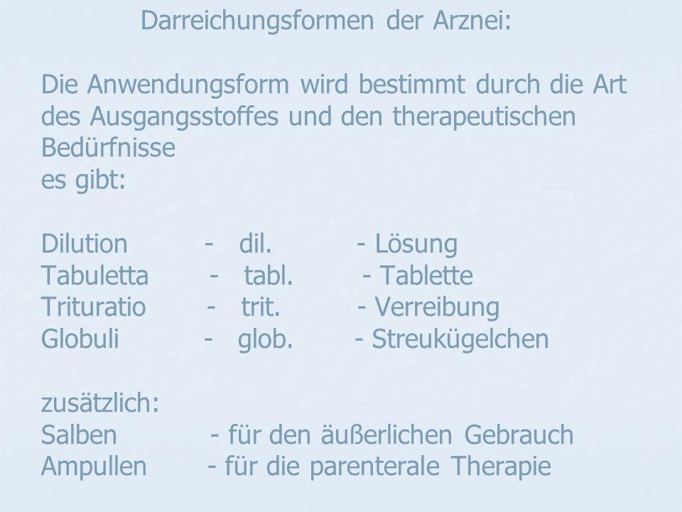 Darreichungsformen der Arznei: Die Anwendungsform wird bestimmt durch die Art des Ausgangsstoffes und den therapeutischen Bedürfnisse es gibt: Dilution - dil.