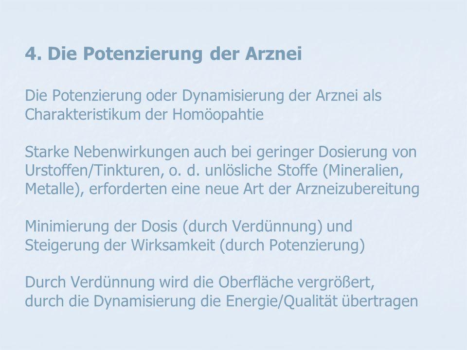 4. Die Potenzierung der Arznei Die Potenzierung oder Dynamisierung der Arznei als Charakteristikum der Homöopahtie Starke Nebenwirkungen auch bei geri