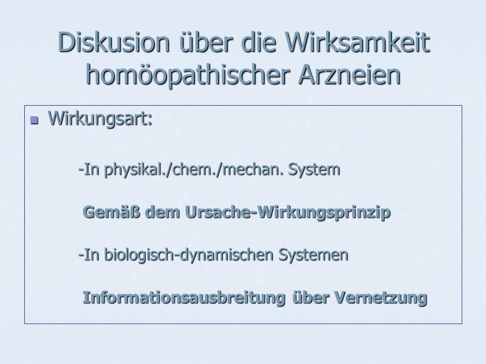 Diskusion über die Wirksamkeit homöopathischer Arzneien Wirkungsart: Wirkungsart: -In physikal./chem./mechan.