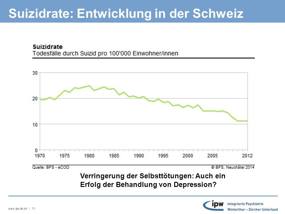 www.ipw.zh.ch | 11 Suizidrate: Entwicklung in der Schweiz Verringerung der Selbsttötungen: Auch ein Erfolg der Behandlung von Depression