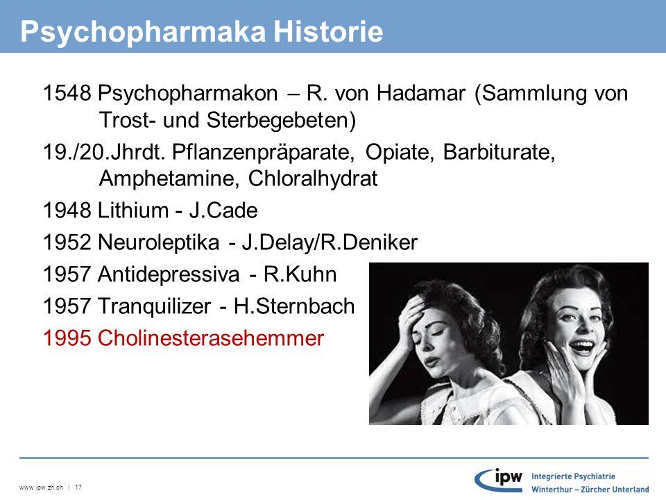 www.ipw.zh.ch | 17 Psychopharmaka Historie  1548 Psychopharmakon – R.