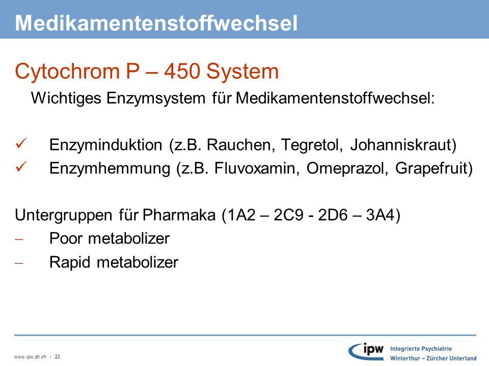www.ipw.zh.ch | 24 Cytochrom P-450 System Substrate (Beispiele) CYP 1A2: Clozapin, Imipramin CYP 2C9 und CYP 2C19: NSAID, AT-1 Antagonisten, Antidiabetika, Antacida CYP 2D6: Antidepressiva, Neuroleptika, Opioide CYP 3A4: Benzodiazepine, Ca-Blocker, Statine, Marcoumar