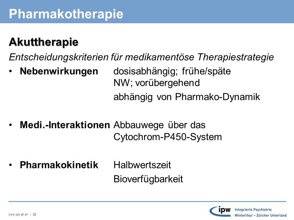 www.ipw.zh.ch | 28 Pharmakotherapie Akuttherapie Entscheidungskriterien für medikamentöse Therapiestrategie Nebenwirkungen dosisabhängig; frühe/späte NW; vorübergehend abhängig von Pharmako-Dynamik Medi.-Interaktionen Abbauwege über das Cytochrom-P450-System Pharmakokinetik Halbwertszeit Bioverfügbarkeit