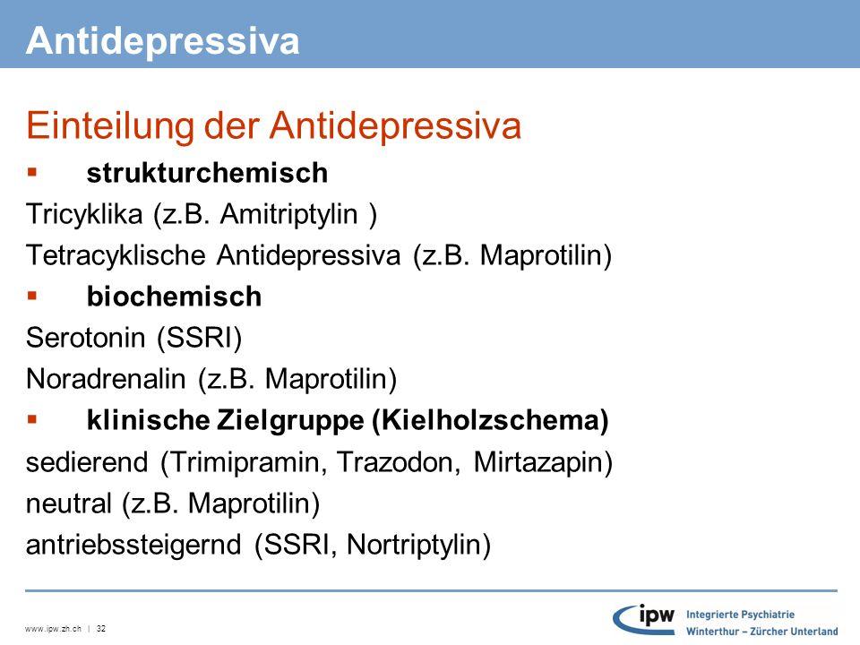 www.ipw.zh.ch | 32 Antidepressiva Einteilung der Antidepressiva  strukturchemisch Tricyklika (z.B.