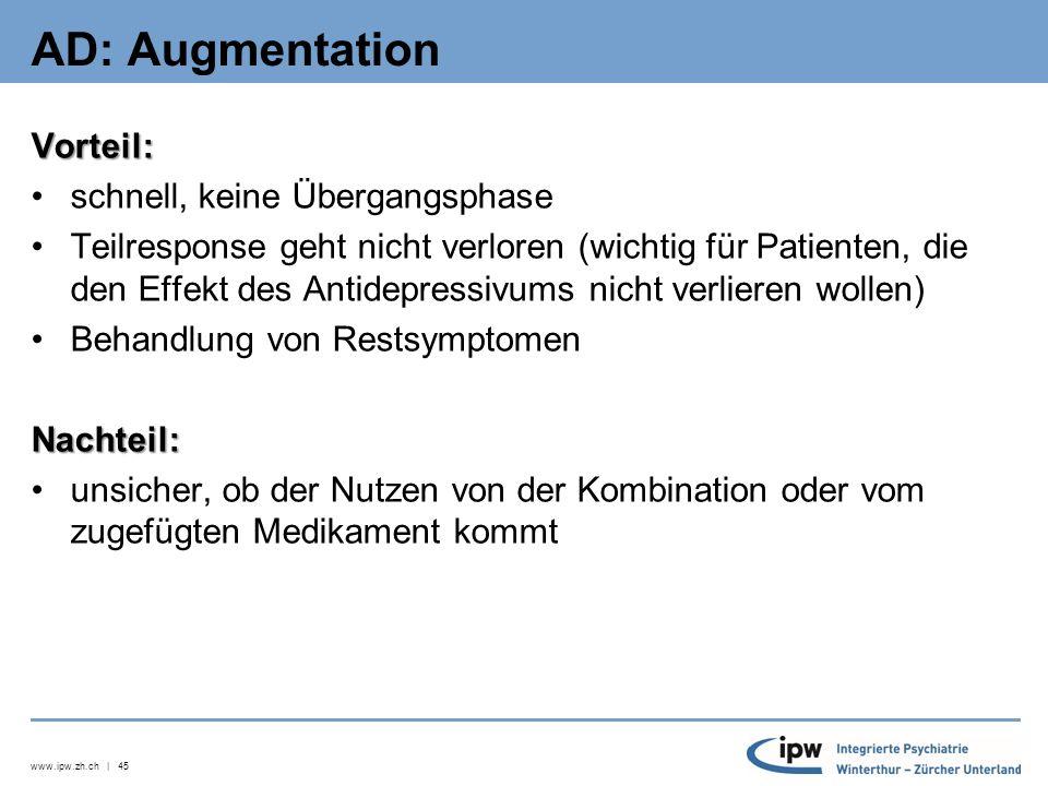 www.ipw.zh.ch | 46 AD-Pharmakotherapie bei depr.