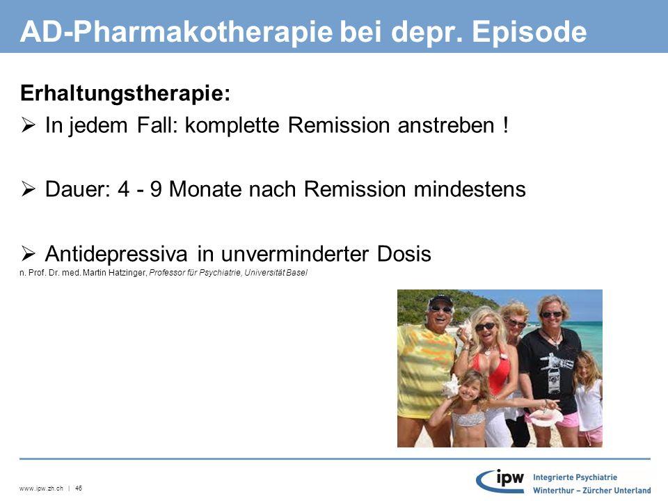 www.ipw.zh.ch | 47 AD-Pharmakotherapie bei depr.