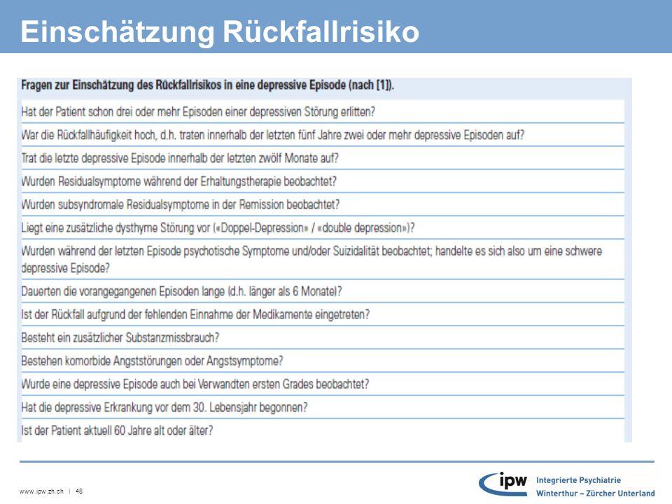 www.ipw.zh.ch | 49 AD-Pharmakotherapie bei rez.depr.
