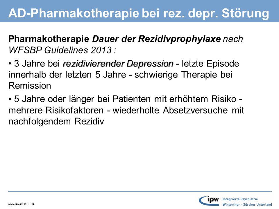 www.ipw.zh.ch | 49 AD-Pharmakotherapie bei rez. depr.