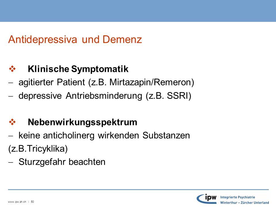 www.ipw.zh.ch | 51 Serotoninsyndrom Leichtgradig  Unruhe, Agitiertheit  Angst  Tremor  Myoklonien  Schwitzen  Tachykardie  Temperatursteigerung (n.